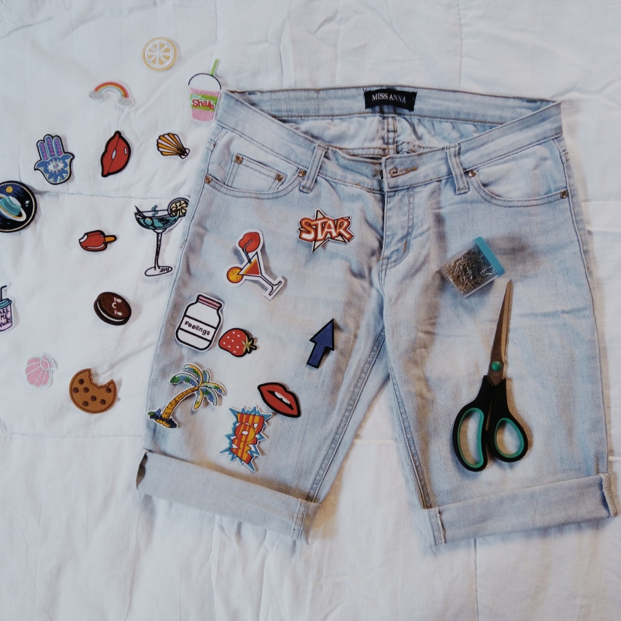 DIY || REVAMPING JEANS TROUSERS TO SHORTS USING PATCHES