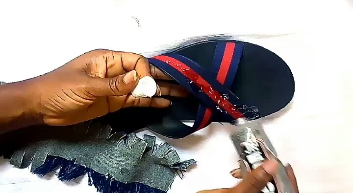 DIY DENIM SLIDES